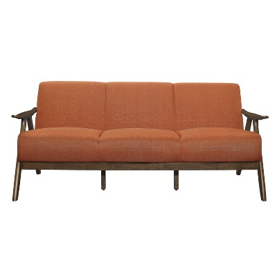 Lexicon 1138RN-3 Damala Collection Retro Inspired 3 Seat Living Room Sofa Couch, Polyester Fabric, Walnut Frame, Orange