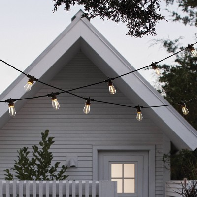 10ct LED Outdoor Non- Drop String Lights Black - Smith & Hawken™