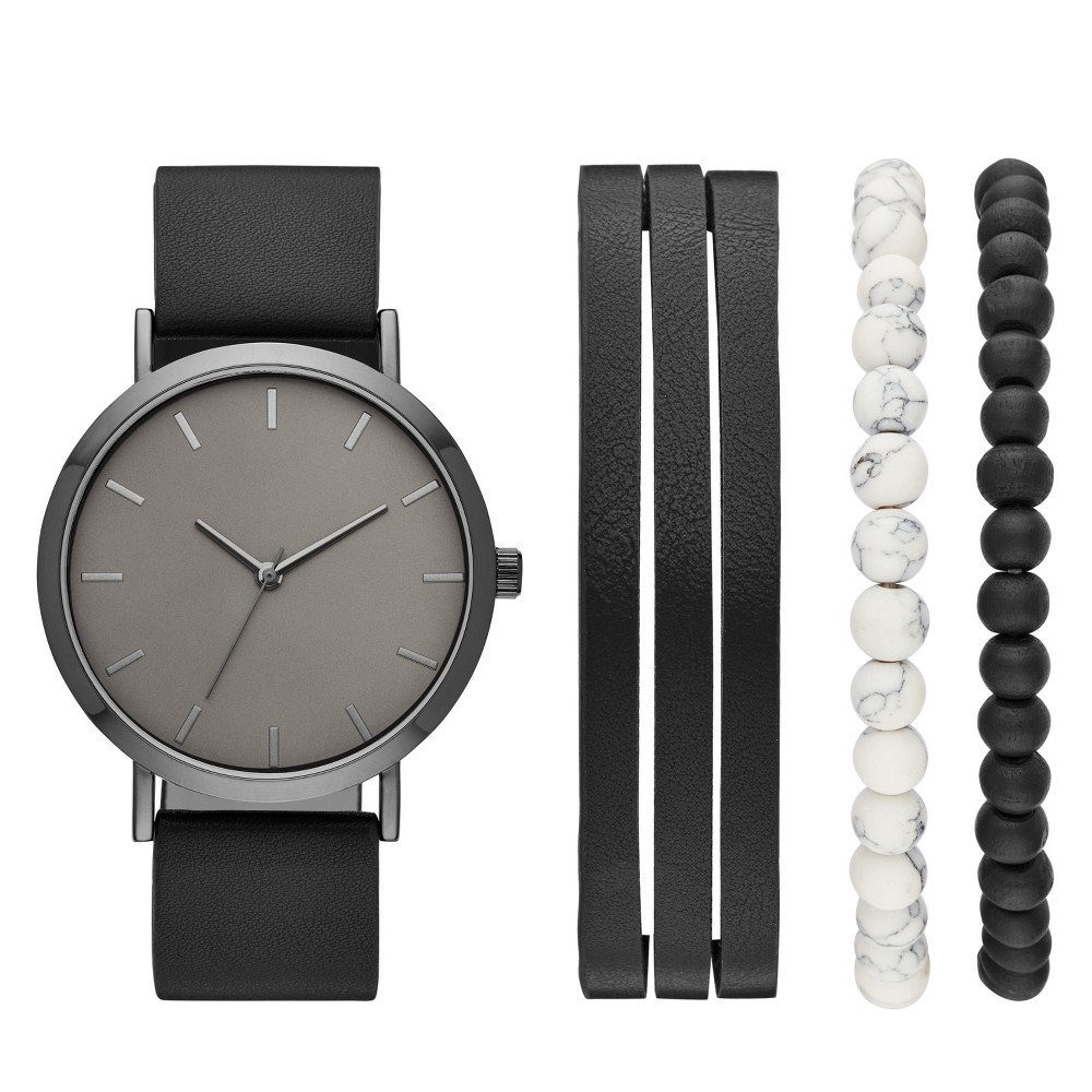 Image of Men's Strap Watch Set - Goodfellow & Co Black, Size: Small
