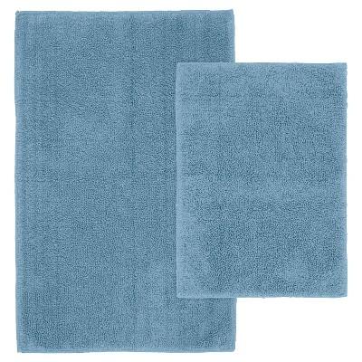 2pc Queen Cotton Washable Bath Rug Set Blue - Garland