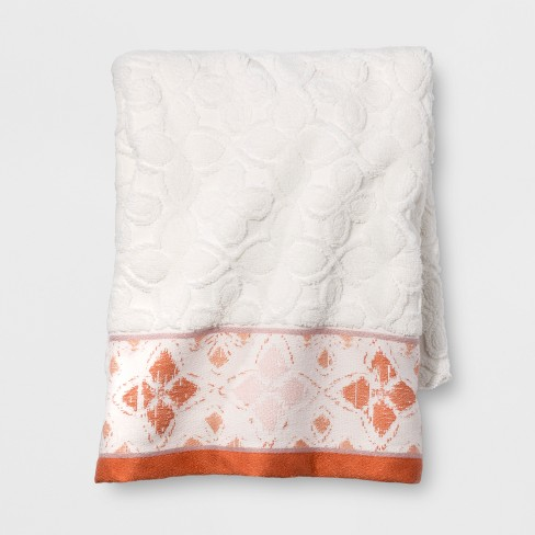 Diamond Border Towel White/Orange - Opalhouse™ - image 1 of 3
