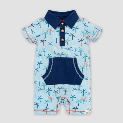 Burt's Bees Baby® Baby Boys' Organic Cotton Quirky Palms Polo Romper - Light Blue 6-9M