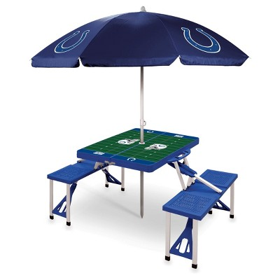 NFL Indianapolis Colts Picnic Table Sport With Umbrella By Picnic Time    Blue
