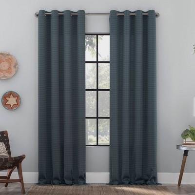 Strie Textured Recycled Fiber Semi-Sheer Grommet Top Curtain Panel - Clean Window