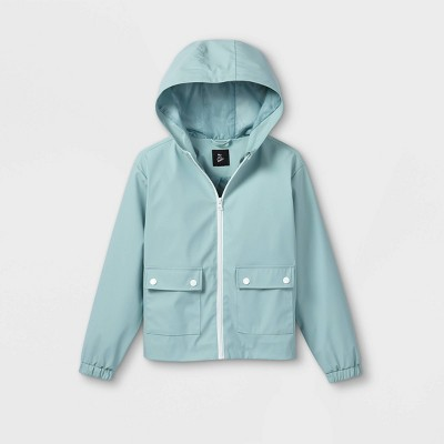 Girls' Hooded Rain Long Sleeve Jacket - art class™