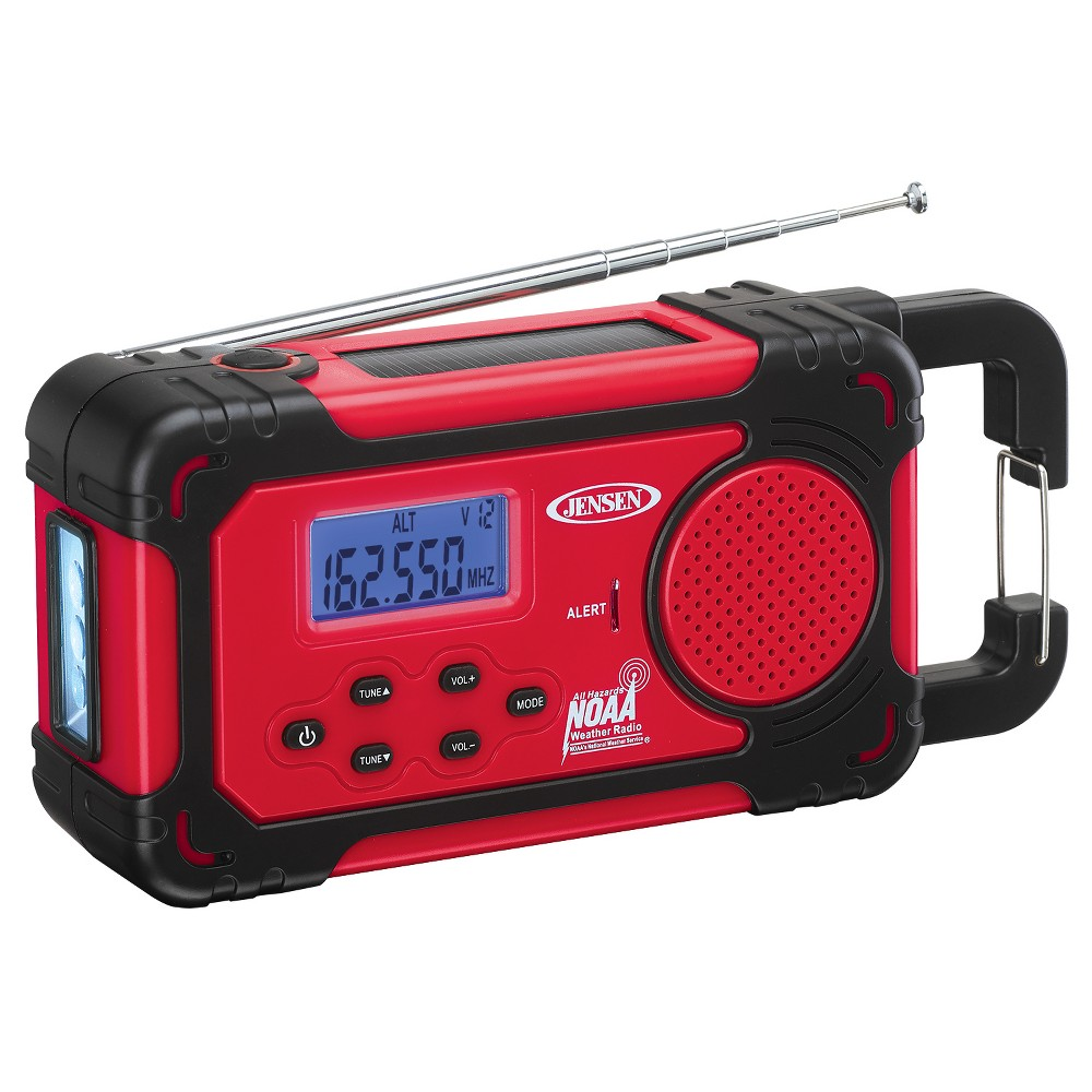 Jensen AM/FM Weather Band 4-Way Power Radio with Weather Alert, Flashlight, Clock, Smartphone Charging (Jep-750), Red