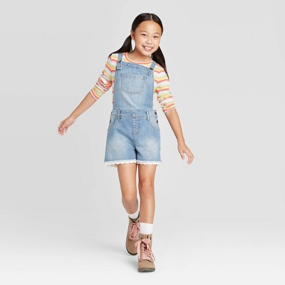 Girls' Eyelet Jean Shortalls - Cat & Jack™ Medium Wash