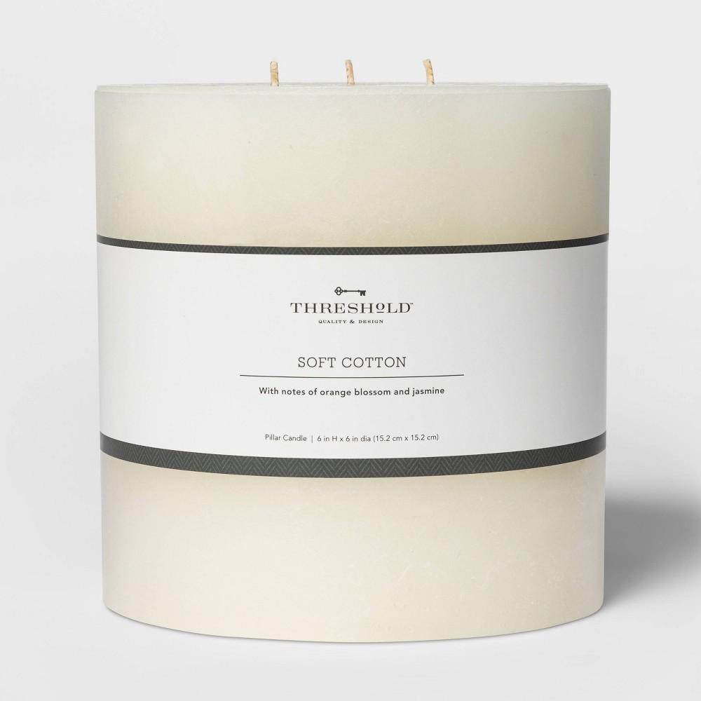 6 34 X 6 34 3 Wick Pillar Candle Soft Cotton White Threshold 8482