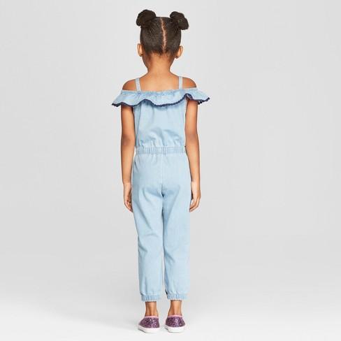 a35abe527b3 Genuine Kids® From OshKosh Toddler Girls  Off The Shoulder Denim Romper -  Blue   Target