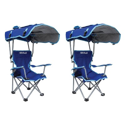 Kelsyus Kids Original Folding Backpack Foldable Lounge Outdoor Lawn Chair with Arm Rest and 50+ UPF Sun Protection Canopy, Blue (2 Pack)