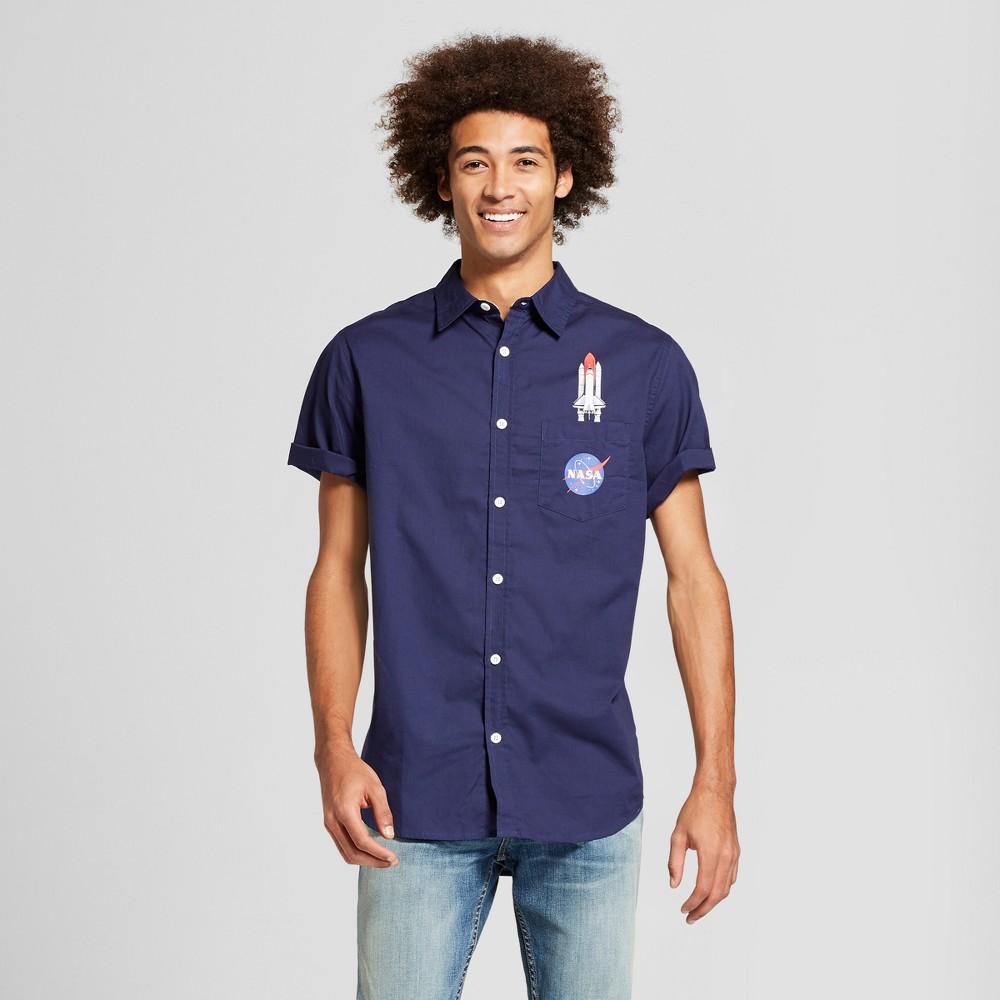 Men's Nasa Space Shuttle Short Sleeve Button-Down Shirt - Navy M, Blue
