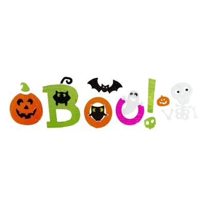 "Northlight Orange and Green ""Boo!"" Halloween Gel Window Clings"