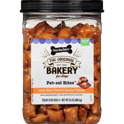 Three Dog Bakery Pet-zels Jar Peanut Butter Dog Treats - 24oz
