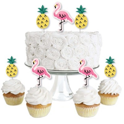 Big Dot of Happiness Pink Flamingo - Party Like a Pineapple - Dessert Cupcake Toppers - Tropical Summer Party Clear Treat Picks - Set of 24