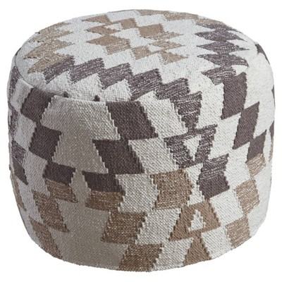Abraham Pouf White/Brown - Signature Design by Ashley