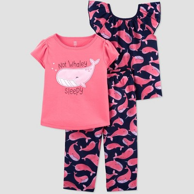 Toddler Girls' 3pc Whale Pajama Set - Just One You® made by carter's