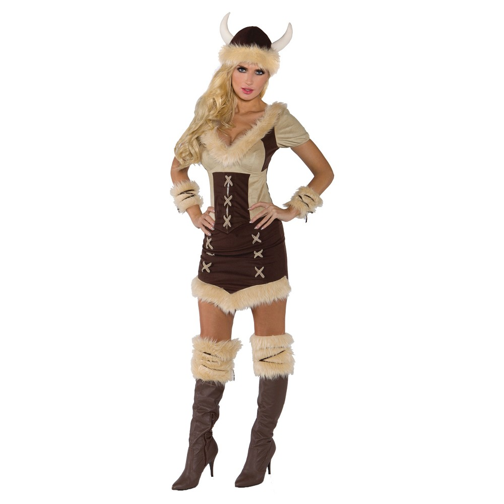 Women's Viking Queen Costume (XL), Brown