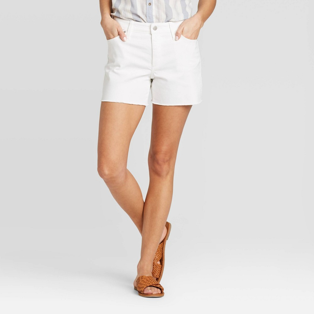 Refresh your weekend wardrobe with these White High-Rise Jean Shorts from Universal Thread?. These high-rise jeans shorts make an essential piece in your summer wardrobe. Featuring a solid white color, they adds a fresh pop to your casual look. The traditional fly button and zipper closure allows for secure and easy wear, while the front and back pockets add handy functional style. Pair with a tucked-in tee or a blouse and flat sandals for a complete warm-weather ready look. Size: 16. Gender: female. Age Group: adult. Material: Cotton.