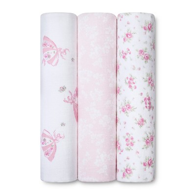 Nursery Pink Swaddle Blankets Sunrise Rose 3pk - Simply Shabby Chic®