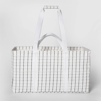 Soft Sided Scrunchable Laundry Basket Grid Pattern White - Room Essentials™