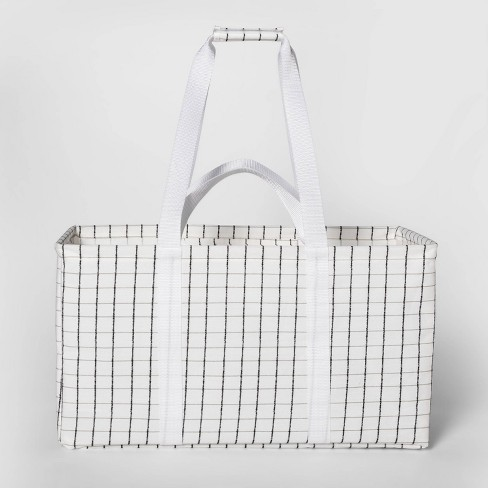 Soft Sided Scrunchable Laundry Basket Grid Pattern White - Room Essentials™ - image 1 of 4