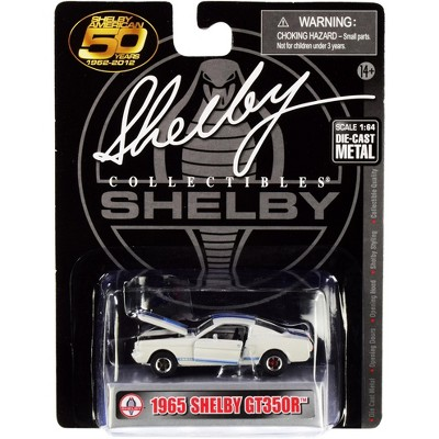 """1965 Ford Mustang Shelby GT350R White w/Blue Stripes """"Shelby American 50 Years"""" 1/64 Diecast Model Car by Shelby Collectibles"""