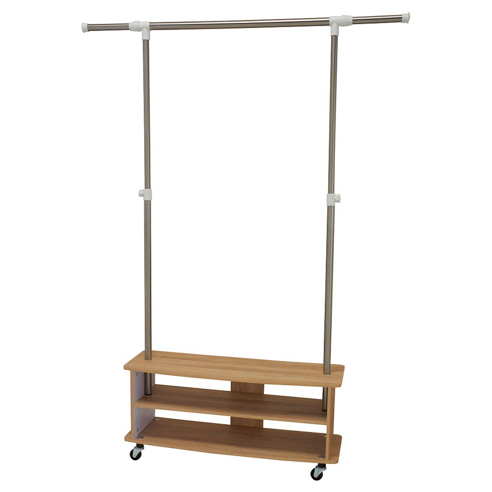 Household Essentials - Rolling Garment Rack with Shoe Shelves - Light Ash, Brown The Rolling Shoe Cubby Garment Rack from Household Essentials in light ash is a good-looking way to organize shoes and coats. It creates an instant drop zone for shopping bags and purses as well. This garment rack is movable with the wheels or can be a stationary fixture with the feet. It's perfect for a mudroom, laundry room and garage. Color: Brown.