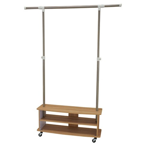 Household Essentials - Rolling Garment Rack with Shoe Shelves - Light Ash - image 1 of 1