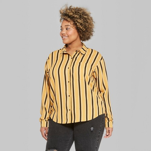 442d4494e2b Women s Plus Size Striped Long Sleeve Tie Front Button-Down Shirt - Wild  Fable™ Mustard 3X   Target