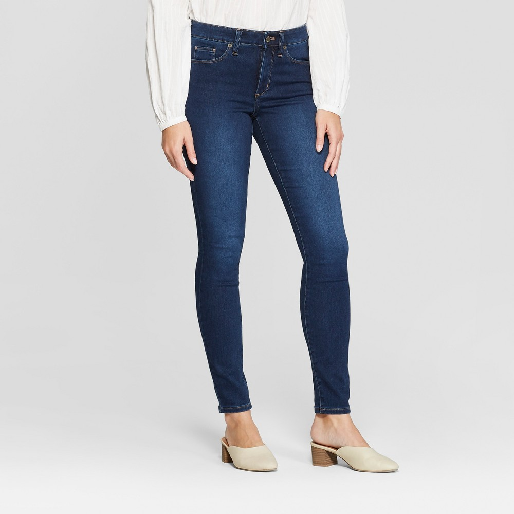 Women's High-Rise Skinny Jeans - Universal Thread Dark Wash 12 Long, Blue