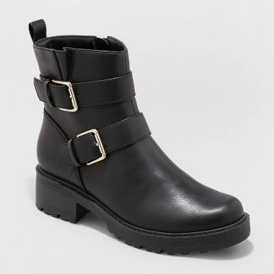 Women's Elisabeth Buckled Moto Boots - Universal Thread™ Black