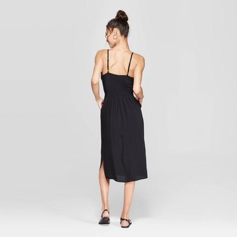 22d6d53303b8 Women s Striped Strappy Side Button Top Midi Dress - Xhilaration™ Black    Target
