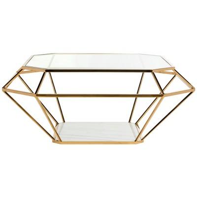 Abena Geometric Coffee Table Gold - Safavieh
