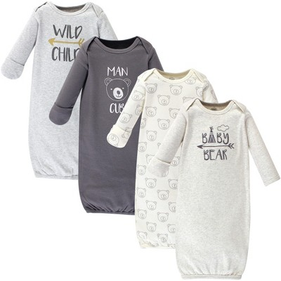 Luvable Friends Baby Boy Cotton Long-Sleeve Gowns 4pk, Bear, 0-6 Months