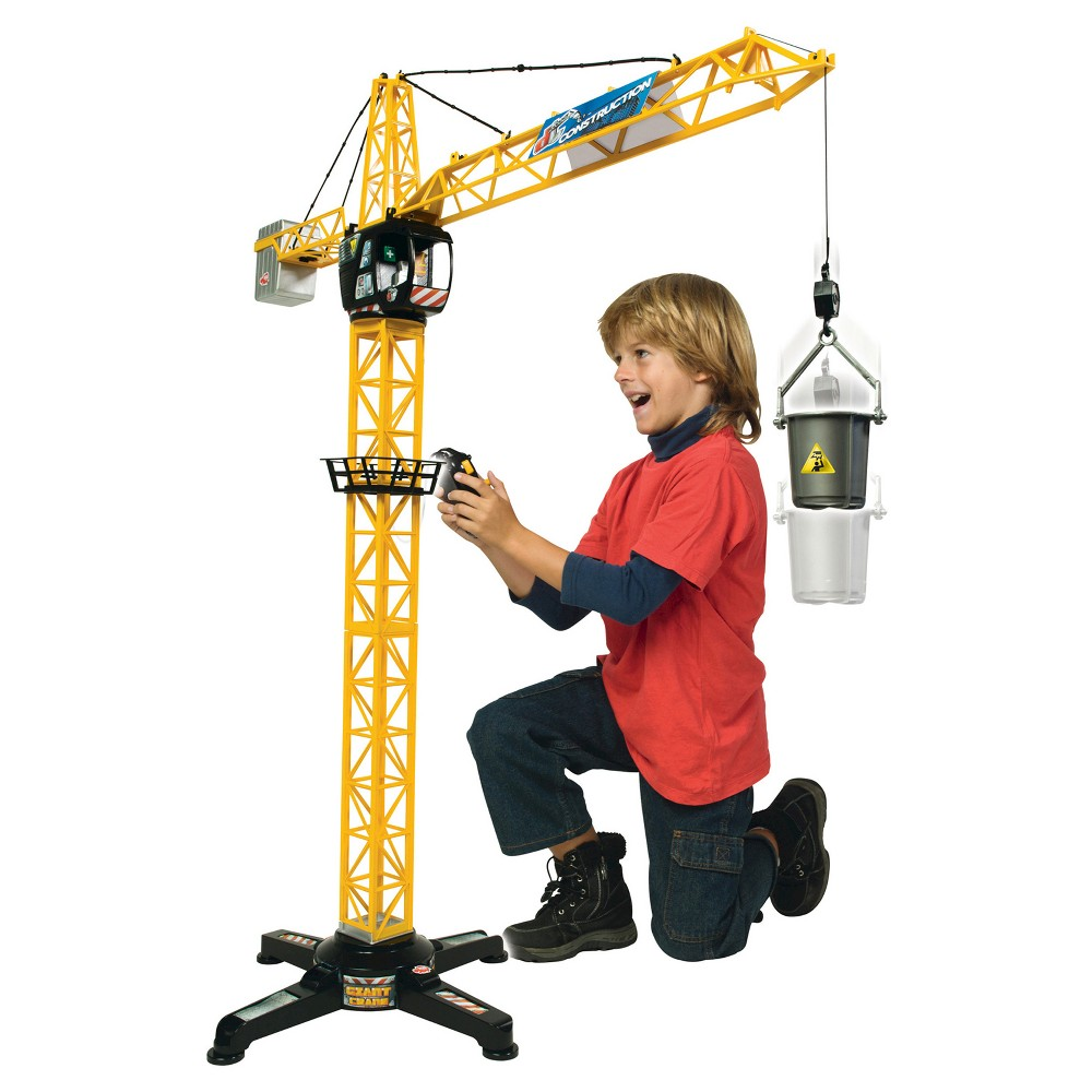 Dickie Toys Majorette Giant Crane Dickie Toys - Majorette Giant Crane - The Dickie Toys Giant Crane includes a wired remote control with left, right, up, and down functions. This crane has an open cabin for a figure (not included) to sit in. The Giant Crane is maneuvered by control cable. The winch is operated via the remote control. This giant crane is also equipped with many other accessories. Batteries - 4-AA, not included. Recommended for children ages 3 years and older. Warning: Choking Hazard - Small Parts. Not for children under 3 years old. Gender: Unisex.