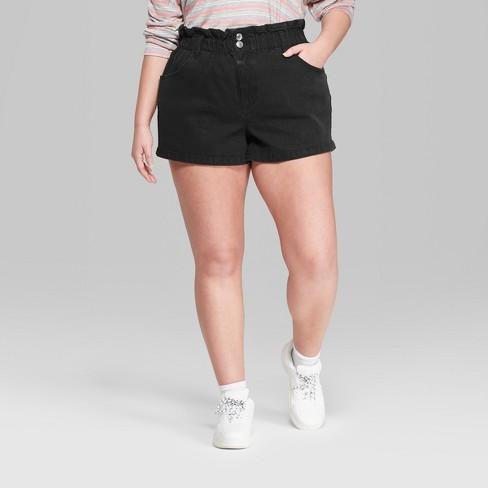 433cf9d759c Women s Plus Size High-Rise Paper Bag Waist Denim Shorts - Wild Fable™ Black  Wash   Target