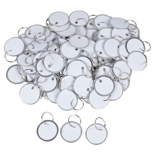 """Paper Key Tags - 100 Pack Paper Key ID Label Name Tags with Split Ring, Keychain, Rim Tag Small Coded Tag Key Chain Keyring, White, 1.2"""" in Diameter - image 1 of 3"""
