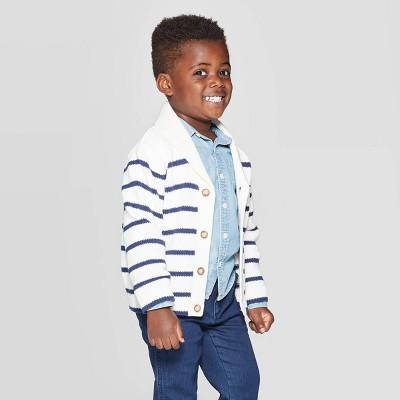 OshKosh B'Gosh Toddler Boys' Striped Cardigan Sweater - Cream 3T