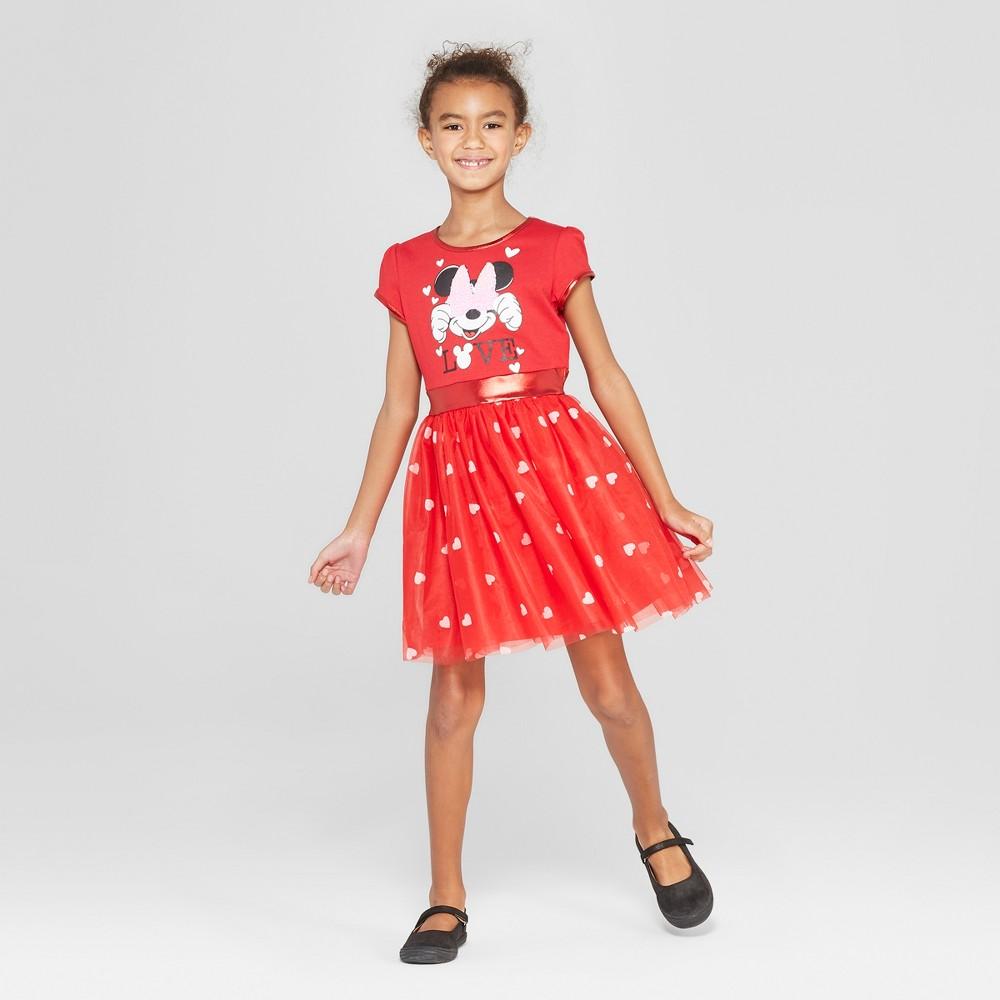 Girls' Disney Minnie Mouse Valentine's Day Flip Sequin Dress - Red S