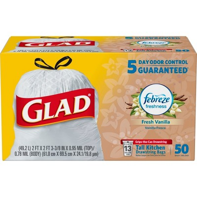 Glad Tall Kitchen Drawstring Trash Bags - OdorShield 13 Gallon White Trash Bag - Vanilla and Cream - 50ct