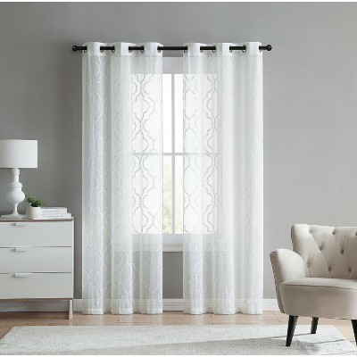 GoodGram 2 Pack Charlotte Trellis Sheer Window Curtain Panels