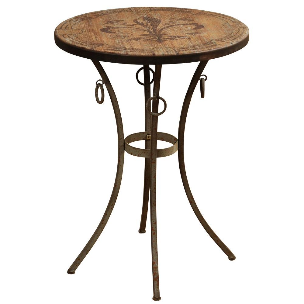 Round Side Table with Fleur De Lis Motif Painted Top Bronze - Stylecraft Round Side Table with Fleur De Lis Motif Painted Top Bronze - Stylecraft Age Group: Adult.