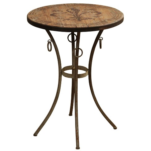 Round Side Table with Fleur De Lis Motif Painted Top Bronze - Stylecraft - image 1 of 1