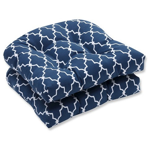 Pillow Perfect Garden Gate Outdoor Cushion Set - Navy - image 1 of 1