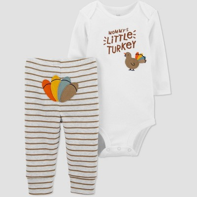 Baby 2pc 'Little Turkey' Thanksgiving Top and Bottom Set - Just One You® made by carter's White/Brown