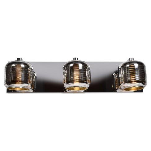 Dor LED 3-Light Vanity Light - Mirrored Stainless Steel Outer, Smoked Amber Glass Inner Shade - image 1 of 4