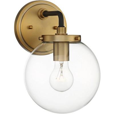 "Possini Euro Design Modern Wall Light Sconce Gold Hardwired 10 1/2"" High Fixture Clear Glass Globe for Bedroom Bathroom Hallway"