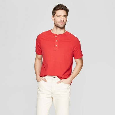 Men's Regular Fit Short Sleeve Henley Shirt - Goodfellow & Co™ Ripe Red 2XL