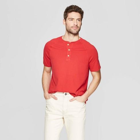 Men's Regular Fit Short Sleeve Henley Shirt - Goodfellow & Co™ Ripe Red - image 1 of 3