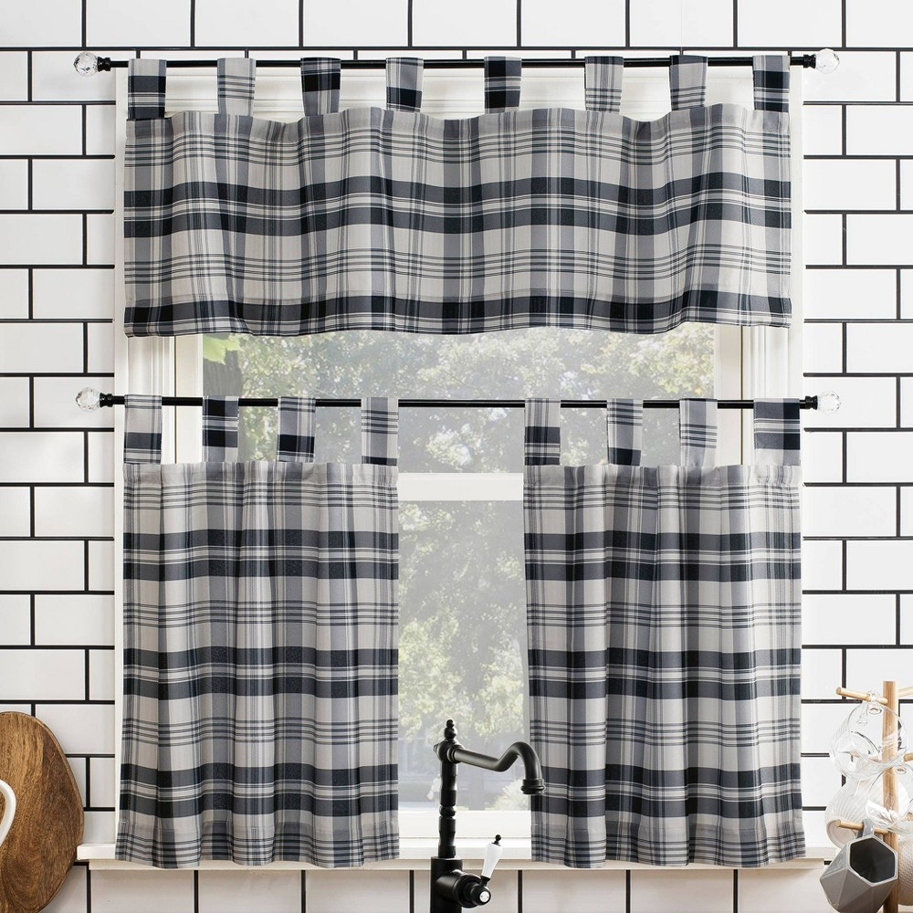 "Image of ""24""""x52"""" Blair Farmhouse Plaid Semi-Sheer Tab Top Kitchen Curtain Valance and Tiers Set Charcoal/Black - No. 918"""